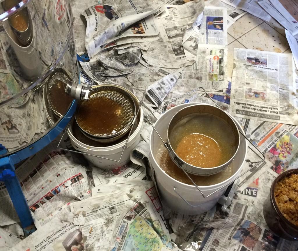 Le miel est extrait des cadres avec la centrifugeuse. Il est filtré à travers deux tamis pour éliminer les débris de cire.